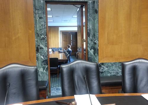 Cheryl DeMars in Senate Waiting Room