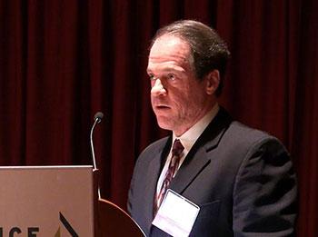 Joseph Leutzinger speaking at the event