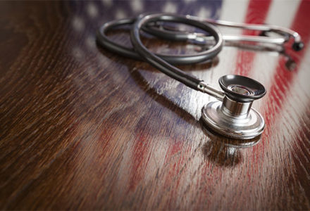 stethoscope and flag