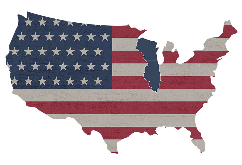 USA map- Wisconsin and Illinois