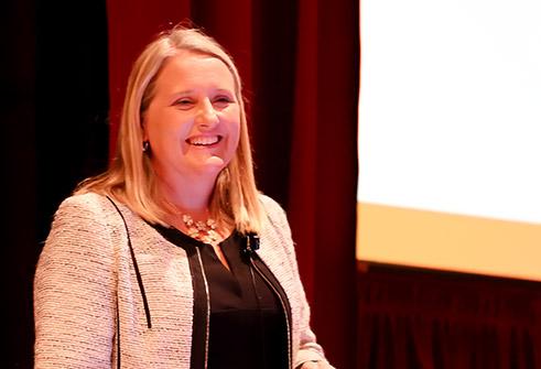 Heather Sundar speaking on biosimilars