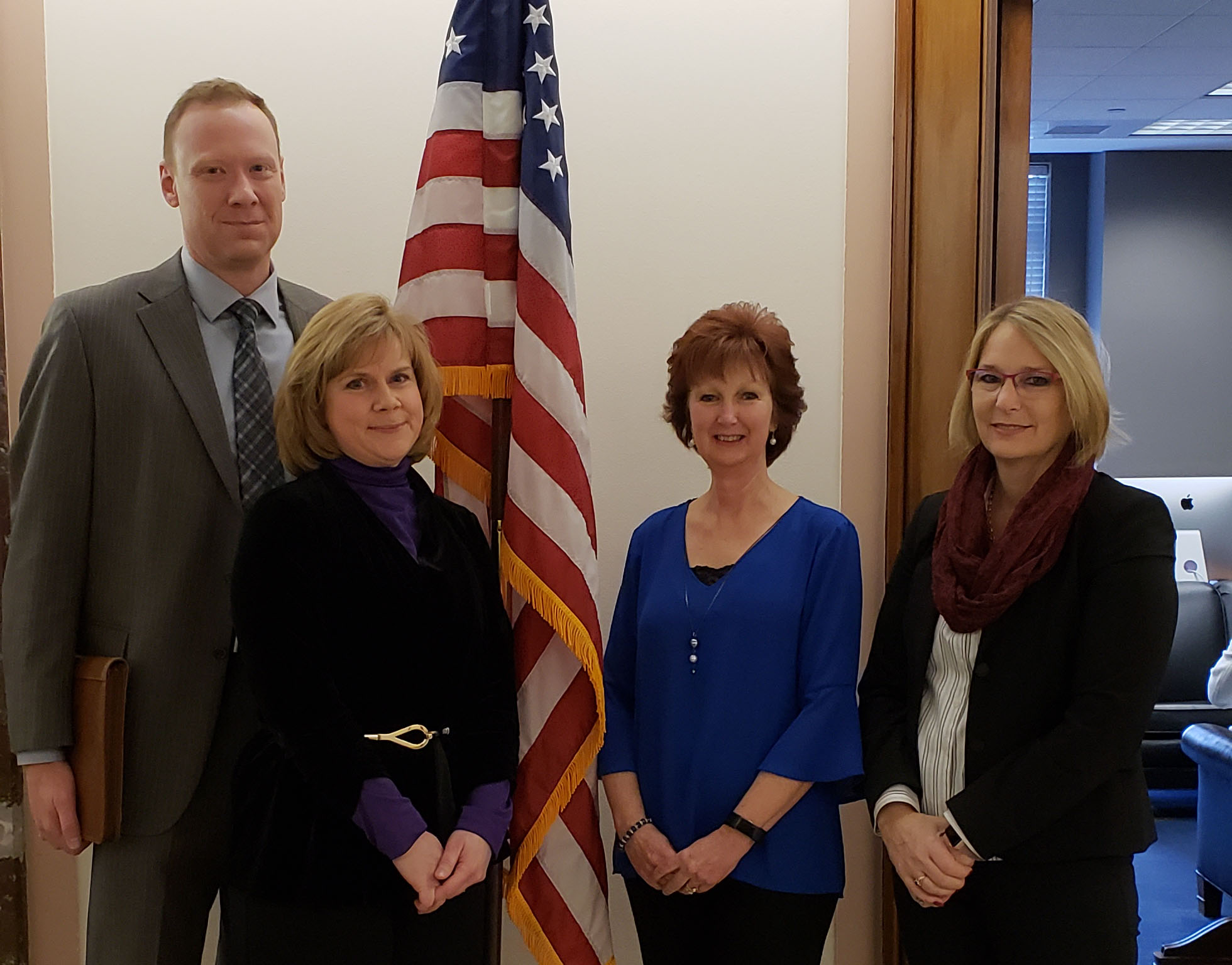 Alliance members Brad Olm (Gordon Flesch Co.), Wendy Culver (Mead & Hunt), Vikki Brueggeman (Zimbrick), Annette Mikula (Rock County) at the U.S. Senate (Nov. 28, 2018)