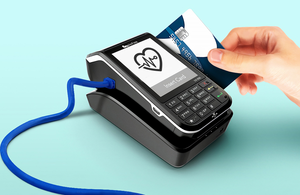 credit card reader with heart health icon