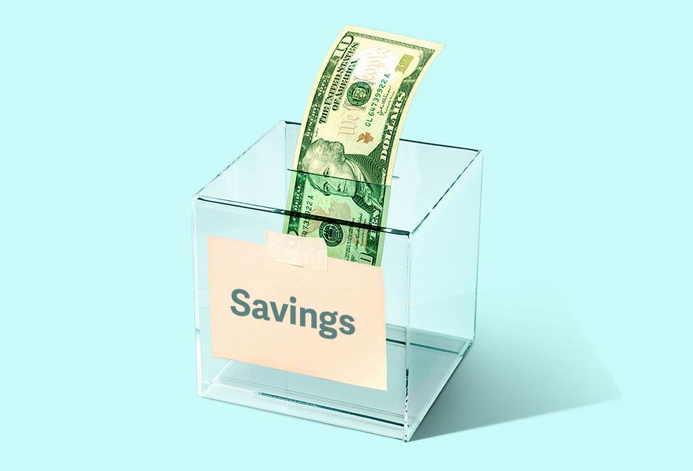 $10 bill in savings box