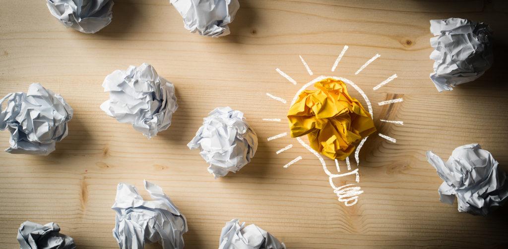 Crumpled paper lightbulb